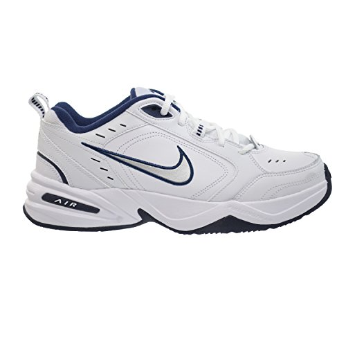 Nike Air Monarch IV Mens' Training Shoes White/Metallic Silver-Mid Navy 415445-102 (9 D(M) US)