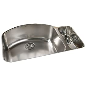 American Standard 7504.000.075 Culinaire 33-Inch Undercounter Mount Dual Level Kitchen Sink, Stainless Steel