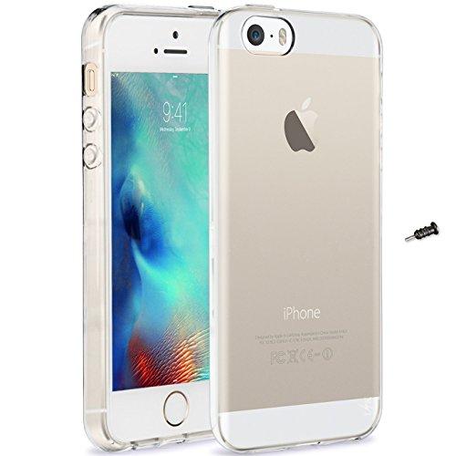 iPhone SE ケース カバー [Fitwhiny] イヤホンジャックキャップ付 アイフォン アイフォーンSE iPhoneSE 滑りにくい スタイリッシュTPU シリコンケース ソフトケース カバー つるつる質感 スリムケース 薄型 軽量 simフリー apple 透明 マットフロスト クリア クリアケース 278-2S