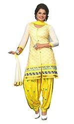 SGC Yellow Cotton Embroidery unstitched churidar Patiyala (NKT-5108)