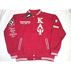 Buy New Red Phi Nu Pi Kappa Alpha Psi Centennial Snap up Fraternity Racing Style Jacket by Big Boy Gear