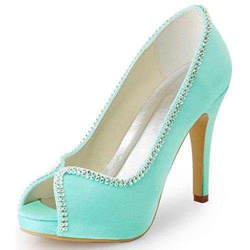 ElegantPark EP11083-IP Women's Peep Toe Stiletto High Heel Rhinestones Satin Evening Party Pumps Mint US 8