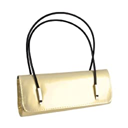 BMC Womens Synthetic Patent Leather Evening Clutch w/ Black Cord Shoulder Straps - BLING BLING GOLD