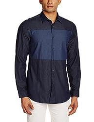 Adamo London Men's Casual Shirt (SHTADSU16028_Small_Blue)
