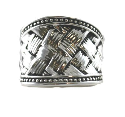 DaVinci Antique Silver Weave Fashion Ring Silver Tone - You Choose Size - Double Sterling Layered (8)