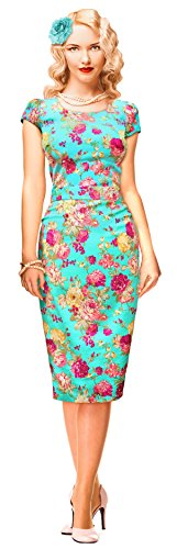 1950′s 50s Turquoise Floral Summer Pencil Wiggle Dress Vintage