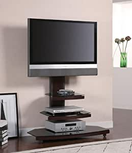 TV Stand Tiered Media Console with Bracket in Dark Wood Base