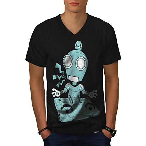 DJ Robot piatto CD Rave Decks Uomo Nuovo Nero T-Shirt XXL | Wellcoda