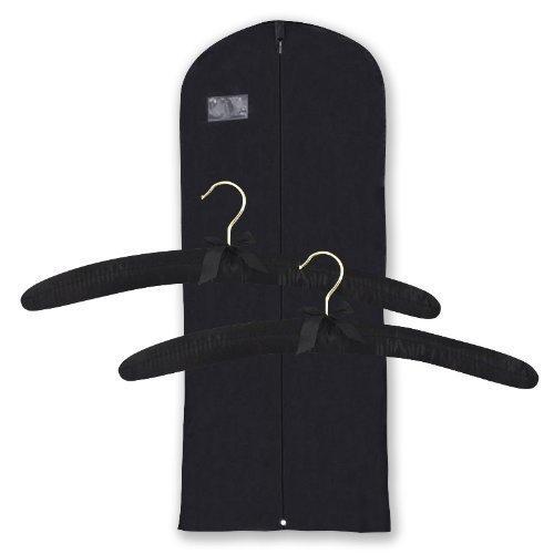Juego-de-regalo-compuesto-por-funda-transpirable-negro-de-182cm-para-vestidos-y-2-perchas-acolchadas-Alta-calidad-garantizada