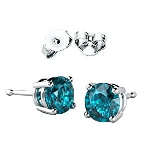 2.00 Carat Total Weight Sterling Silver Blue Zircon Topaz Colored Round Cz Stud Earrings- December Birthstone by Proudly Made in U.S.A California
