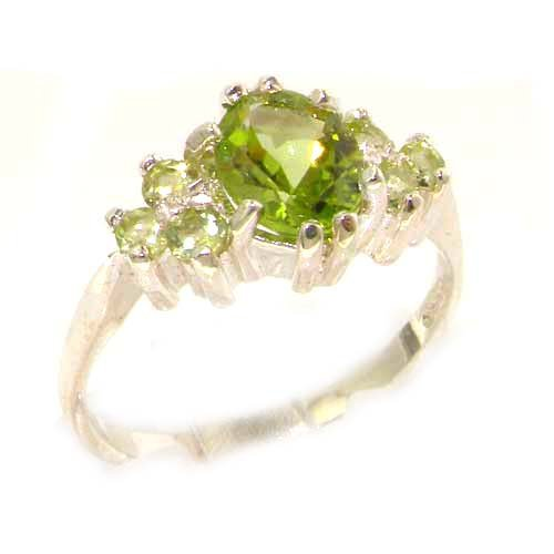 Ladies Contemporary Solid White Gold Natural Peridot Ring - Size 9.75 - Finger Sizes 5 to 12 Available