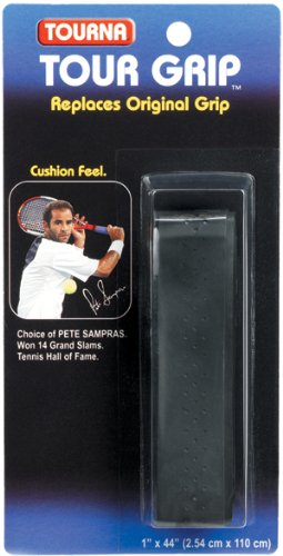 Tourna Tennis Racquet Replacement Grip Sampras Tour Grip 1.8 mm-Black
