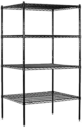 Salsbury Industries Stationary Wire Shelving Unit, 36-Inch Wide by 74-Inch High by 24-Inch Deep, Black