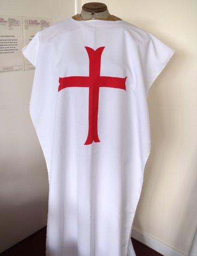 Costume da cavaliere dei templari senza maniche, in poliestere/viscosa, colore: bianco