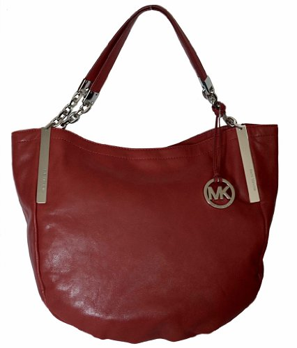 Michael Kors Red Leather Julian Large Shoulder Tote Handbag Purse