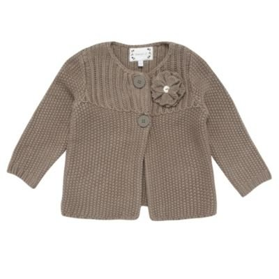 J by Jasper Conran-Girl's light brown chunky knit cardigan-age 3-4