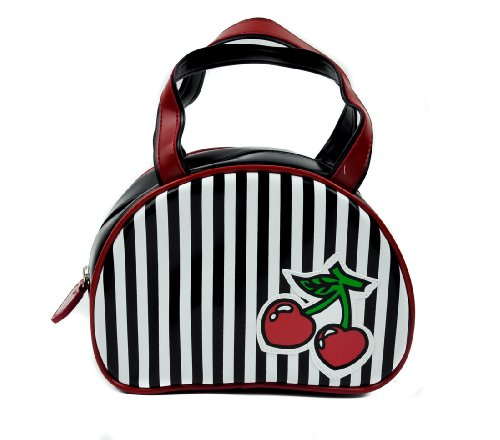 Black & White Stripe Cherry Purse Handbag