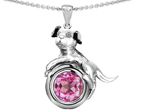 Original Star K(tm) Dog Lover Pendant with September Birthstone Round 7mm Created Pink Sapphire in .925 Sterling Silver