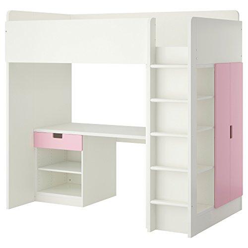 IKEA イケア STUVA ロフトベッドフレーム デスク&収納付き(引き出し×1/扉×2) - ホワイト/ピンク 090.274.01,09027401