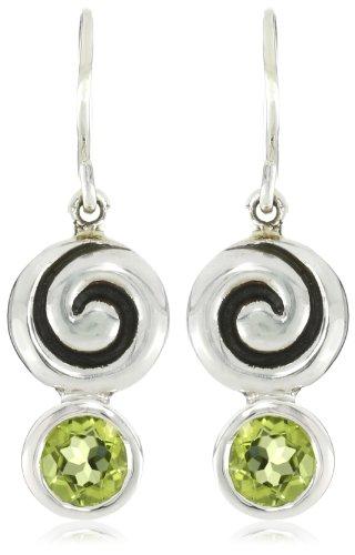 Zina Sterling Silver Swirl Drop Earrings With Peridot
