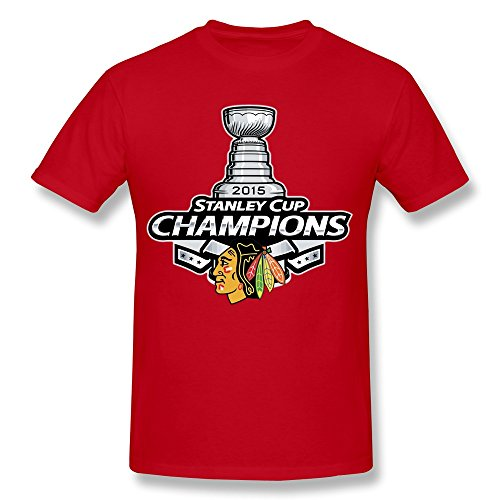 HTAD Men's Chicago Blackhawks Stanley Cup NHL 2015 T Shirt Red Size XXL