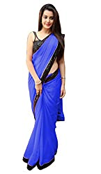Women's Exclusive Blue Georgette Plain Sari with Blouse