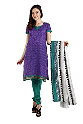 Aryahi Women's Poly Cotton Dress Material (80448IAAR_Purple)