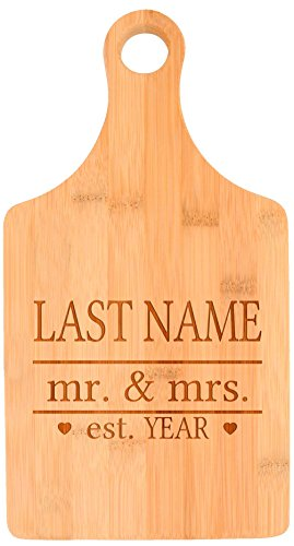 Customized Last Name Mr Mrs Established Wedding Gift Personalized Paddle Shaped Bamboo Cutting Board