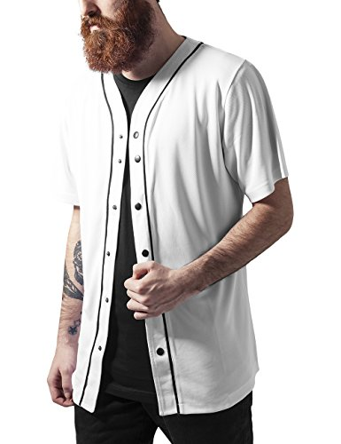 Urban Classics Baseball Mesh Jersey-T-shirt  Uomo, Mehrfarbig (wht/blk 224), Large