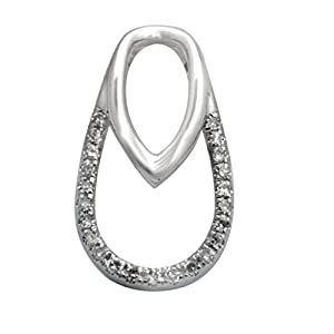 Brand new Real Round Brilliant Diamond Beautifull Fancy Pendant With Chain, White Gold Plated 925 Silver