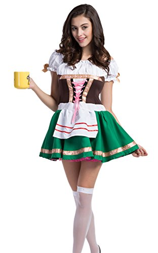 JustinCostume Women's Germany Beer Girl Maid Outfits Cosplay Costume