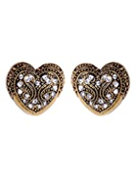 Cinderella Heart Shaped Antique Gold CZ Studded Ear Stud