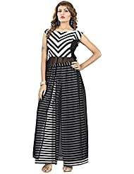 NIRVA SAREES Black Western Wear Dress Kurti Top And Bottom Plazo Set For Women's Combo