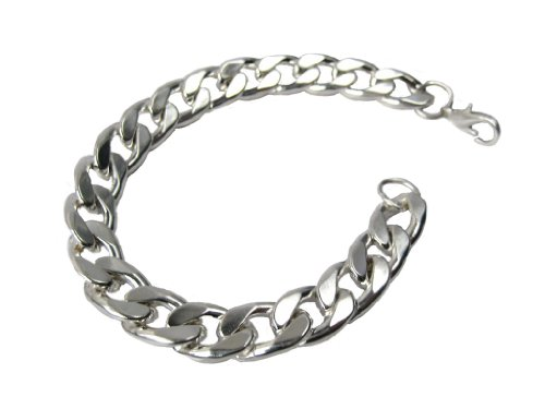 Mens 22cm heavy Silver 10mm Curb Chain fashion Bracelet