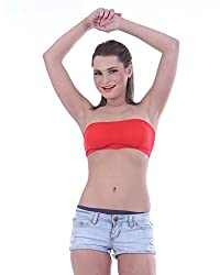 EESHAR Seamless And Non Padded Tube Bra (EESHAR-1316_M, Red, M)