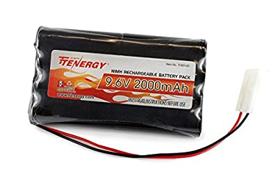 Tenergy 9.6V 2000mAh NiMH High Capacity Battery Pack for RC Car, Robots, Security