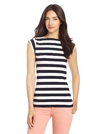 French Connection Women's Stretch Stripe, Uniform Blue/White, Medium