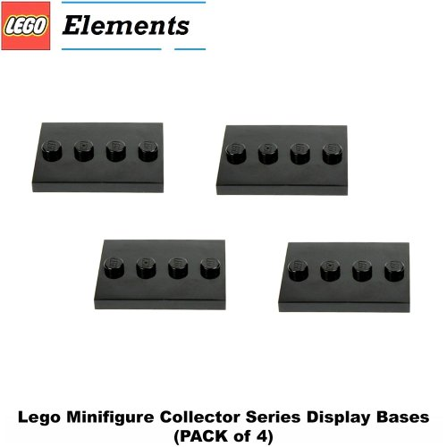 Lego Parts: Tile, Modified 3 x 4 with 4 Studs in Center - Minifigure Display Base (PACK of 4 - Black)