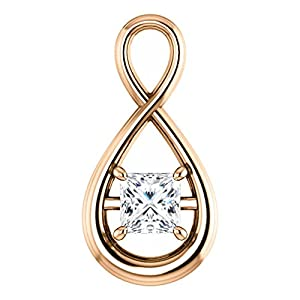 10K Rose Gold Princess Cut Diamond Pendant - 0.5 Ct.