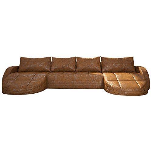 wohnlandschaft braun in leder optik edle designer couch mit led gro er 4 sitzer 364 cm breit. Black Bedroom Furniture Sets. Home Design Ideas