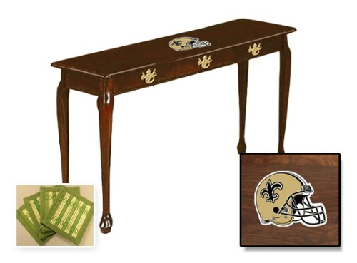 New Cherry Finish Sofa Table featuringNew Orleans Saints NFL Team Logo and also includes a set of free coasters! at Amazon.com