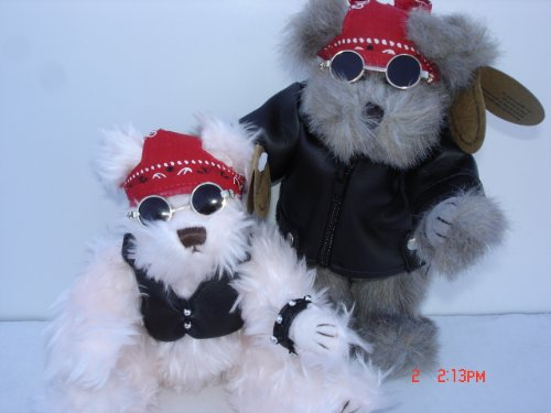 41Lj2hdLQBL Reviews Plush Motorcycle Biker Teddy Bear 8 Inches Tall, Jointed Stuffed Animal Toy, Boy and Girl, 2 Pcs Set