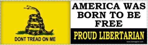 2- America Was Born To Be Free Gadsden Liberty Tea Party Bumper Stickers (Don't Tread on Me Bumper Stickers) - (Two-Pack) - 1