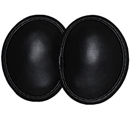 Ear Mitts Bandless Faux Leather Ear Muffs, Black, Regular