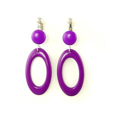 Purple Retro Clip On Earrings