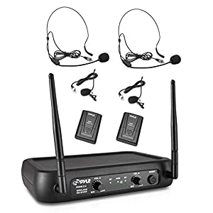 Pyle PDWM2145 VHF Wireless Microphone System, 2 Headset/Lavalier Mics, 2 Bodypacks, Fixed Frequency