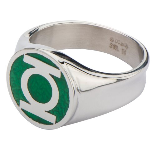 Men s stainless steel dc comics green lantern ring with a