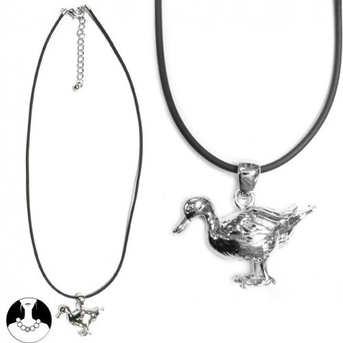 SG PARIS NECKLACE 40CM + EXT RHODIUM BLACK RUBBER NOIR/JET NECKLACE NECKLACE LATEX/RUBBER SUMMER TEENAGER CITY GIRL FASHION JEWELRY / HAIR ACCESSORIES OTHERS BIRDS