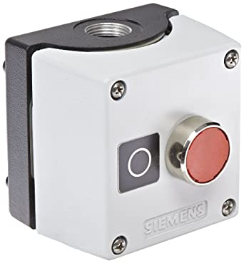 "Siemens 3SB38 01-2DB3 Standard Operator Enclosure and Pushbutton, Metal Enclosure, 1 Pilot Device, Red, ""O"" Label, 1 NC Contact Block Function"