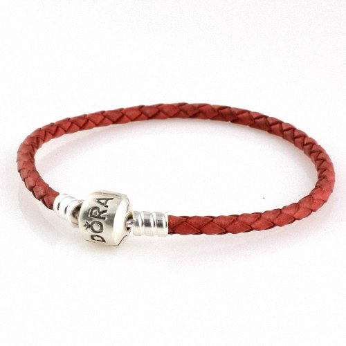 "Taotaohas-(1Pc) (17Cm = 6.7"" ) 100% Solid Sterling 925 Silver Clip Cluth Clasp Braided Genuine Leather Bracelet Base Chain, (Mark: Ale 925, Color: Red ], Fit European Bracelets Necklaces Chains, Troll, Biagi Glass Charm Beads"